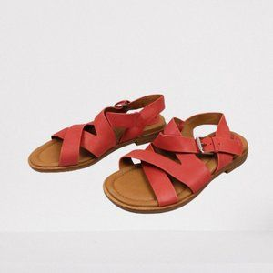 Comfortiva Devera 6W Red Coral Leather Sandals